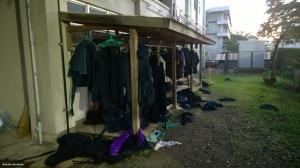 Sateessa ja tuulessa olleita treenivaatteta